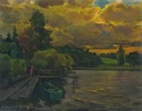 Vasily Belikov Boat on sundown Пейзаж